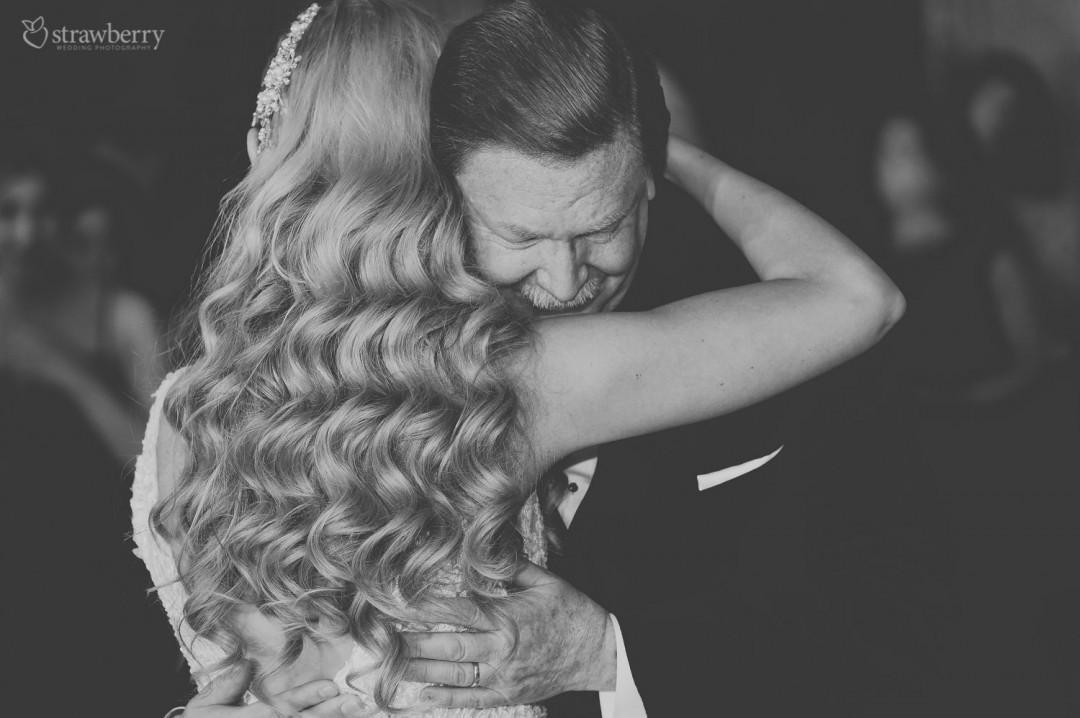 black-white-bride-father-daughter-dance-hug-wave-hair