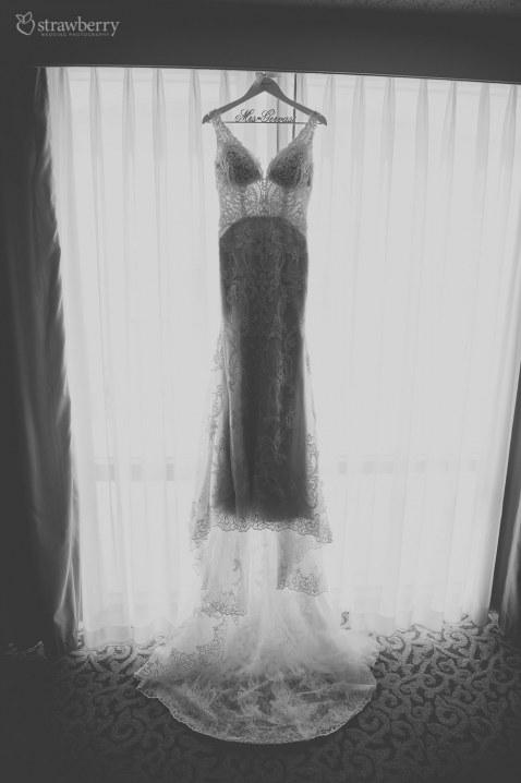 black-white-lace-wedding-dress-preparation